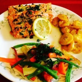 Salmon, Plantains, and Veggies